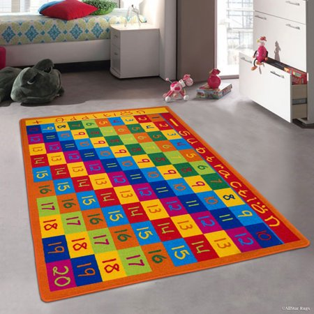 "Allstar Kids / Baby Room Area Rug. Numbers Chart with Cubes Bright Colorful Vibrant Colors (3' 3"" x 4' 10"")"