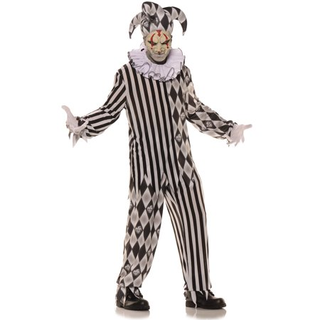 Evil Harlequin Boys Teen Creepy Jester Halloween Costume-T (Creepy Halloween Food For Adults)