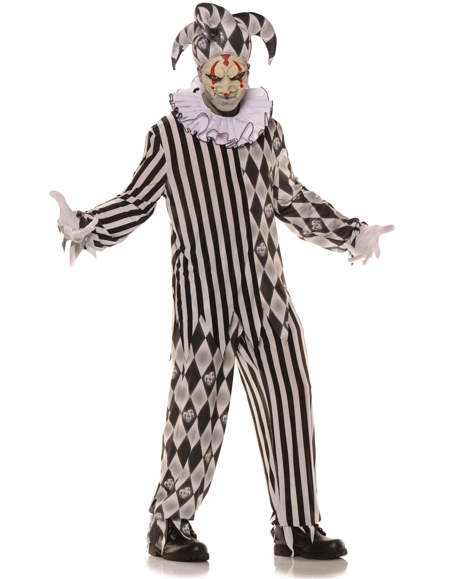 Evil Harlequin Boys Teen Creepy Jester Halloween Costume-T  sc 1 st  Walmart : male jester costume  - Germanpascual.Com