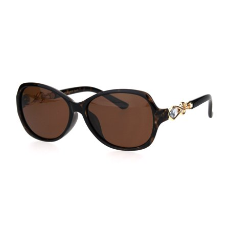 Womens Polarized Classy Rhinestone Bling Butterfly Plastic Designer Sunglasses Tortoise Brown