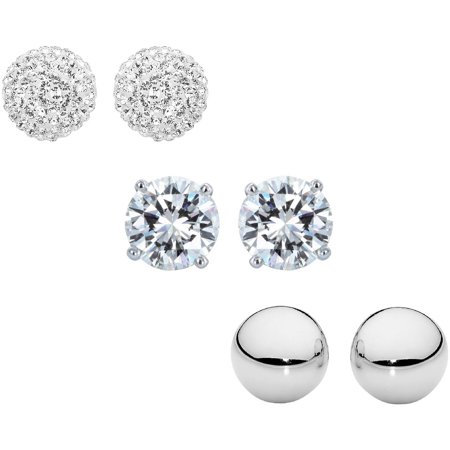 Sterling Silver 6mm CZ, Austrian Crystal Pave and Plain Polished Ball Stud Earrings Set