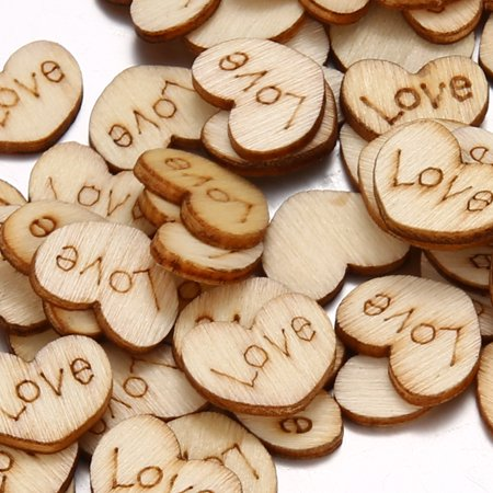 Rustic Wooden Love Heart Crafts Wedding Table Scatter Decoration (100pcs)](Heart Decorations)