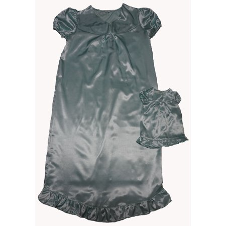 Size 14 Matching Girl And Doll Mint Green Satin Nightgown - Franklin Mint Dolls