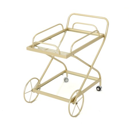 Outdoor Traditional Iron and Glass Bar Cart, Gold