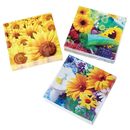 60-pack Decorative Napkins, Disposable Paper Party Napkins with 3 Sunflower Designs, Perfect for Picknics, Parties, Summer, Dinner, Cocktail, 6.5 in. sq.