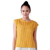 Caron Hello, Yellow! Top, Crochet Kit, M