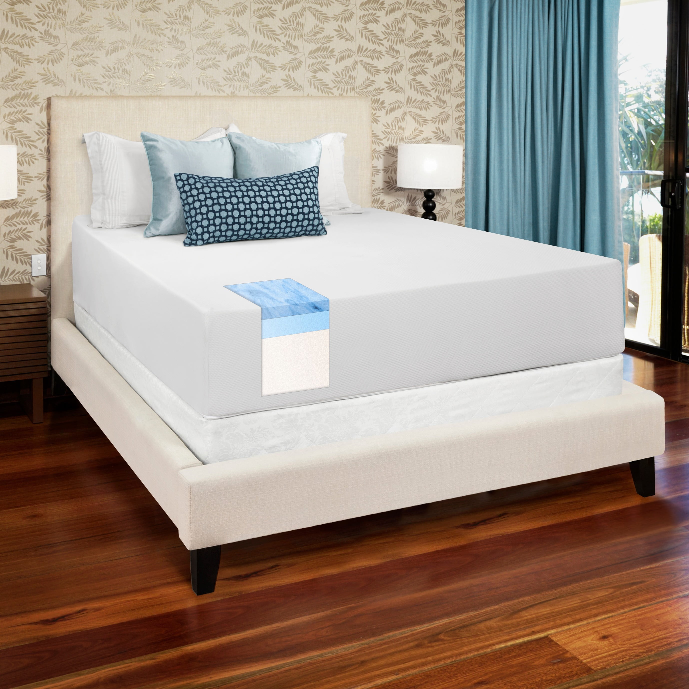 select luxury medium firm 14inch kingsize gel memory foam mattress walmartcom