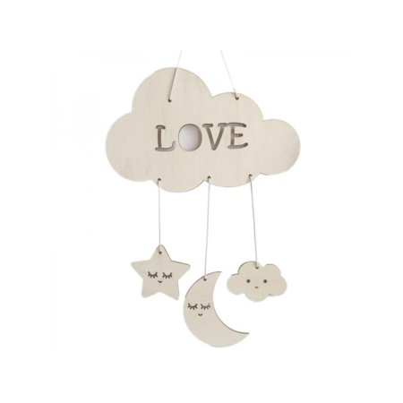 Baby Shower Moon And Stars Theme (VICOODA Sleeping Moon and Stars Pendant Cloud Wall Hanging Hook Nordic Style Wooden Handmade Craft for Home Bedroom/Party/Wedding/Birthday/Nursery/Cradle/Baby Shower/Photoshoot Hanging)