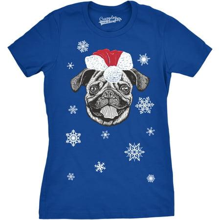 Womens Santa Pug Ugly Christmas Sweater Holiday Dog T Shirt ROYAL