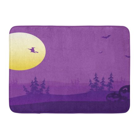 LADDKE Halloween Purple Silhouette of Witch and Pumpkins Haunted House Castle Doormat Floor Rug Bath Mat 23.6x15.7 inch