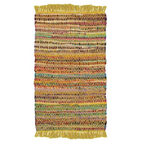 - LR Resources Accent Handwoven Flatweave Cotton Yellow Area Rug