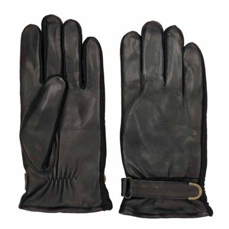 Isotoner Mens Sleek Black Leather Buckle Gloves with Ultra Plush