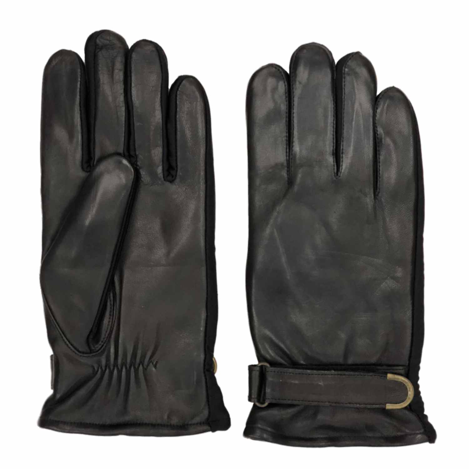 Isotoner Mens Sleek Black Leather Buckle Gloves with Ultra Plush Lining