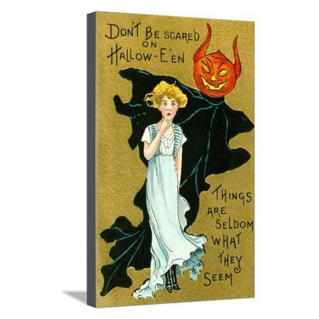 Halloween, Girl and Jack O'Lantern Goblin Stretched Canvas Print Wall (Halloween Jack O'lanterns Print)