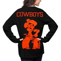 Oklahoma State Cowboys Pressbox Women's The Big Shirt Oversized Long Sleeve T-Shirt - Black