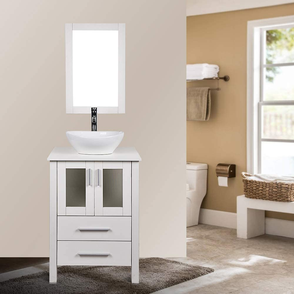 24 Inch White Bathroom Vanity and Sink Combo Stand Cabinet ...