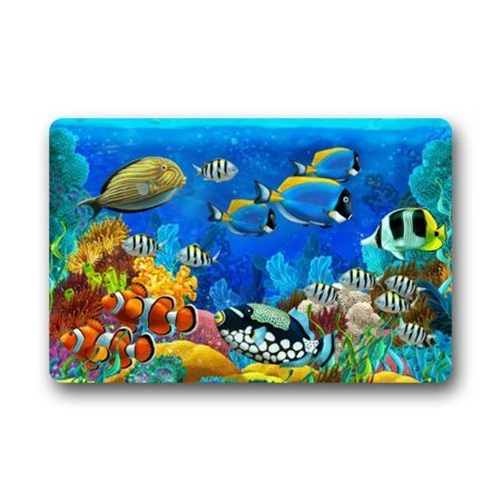 WinHome Tropical Coral Reef Fishes Ocean Sea Life Doormat Floor Mats Rugs Outdoors/Indoor Doormat Size 23.6x15.7 inches ()