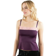 Intimo Womens Microfiber Camisole with Contrast Lace