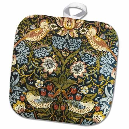 3dRose William Morris Strawberry Thief Pattern - Pot Holder, 8 by