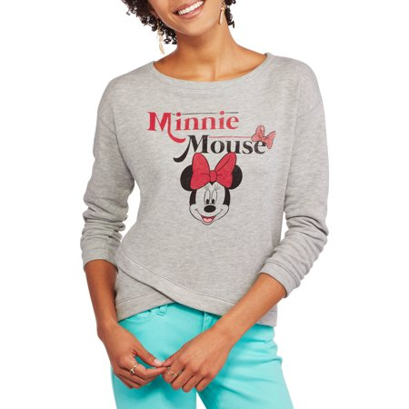 Disney Minnie Mouse Classic Character Head Juniors' Wrapped Hi-Low Pullover Split Waist Graphic Sweatshirt