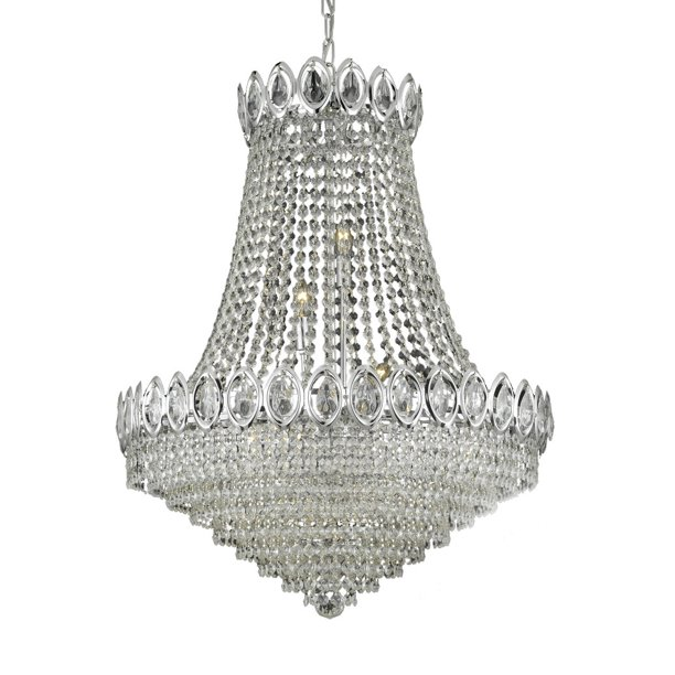 Harrison Lane J2 1090 French Empire 9 Light Crystal Empire Chandelier Silver Walmart Com Walmart Com