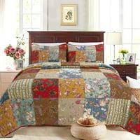 Cozy Line Sheetz Vintage Floral Patchwork 100% Cotton 3-Piece Quilt Set, King Set