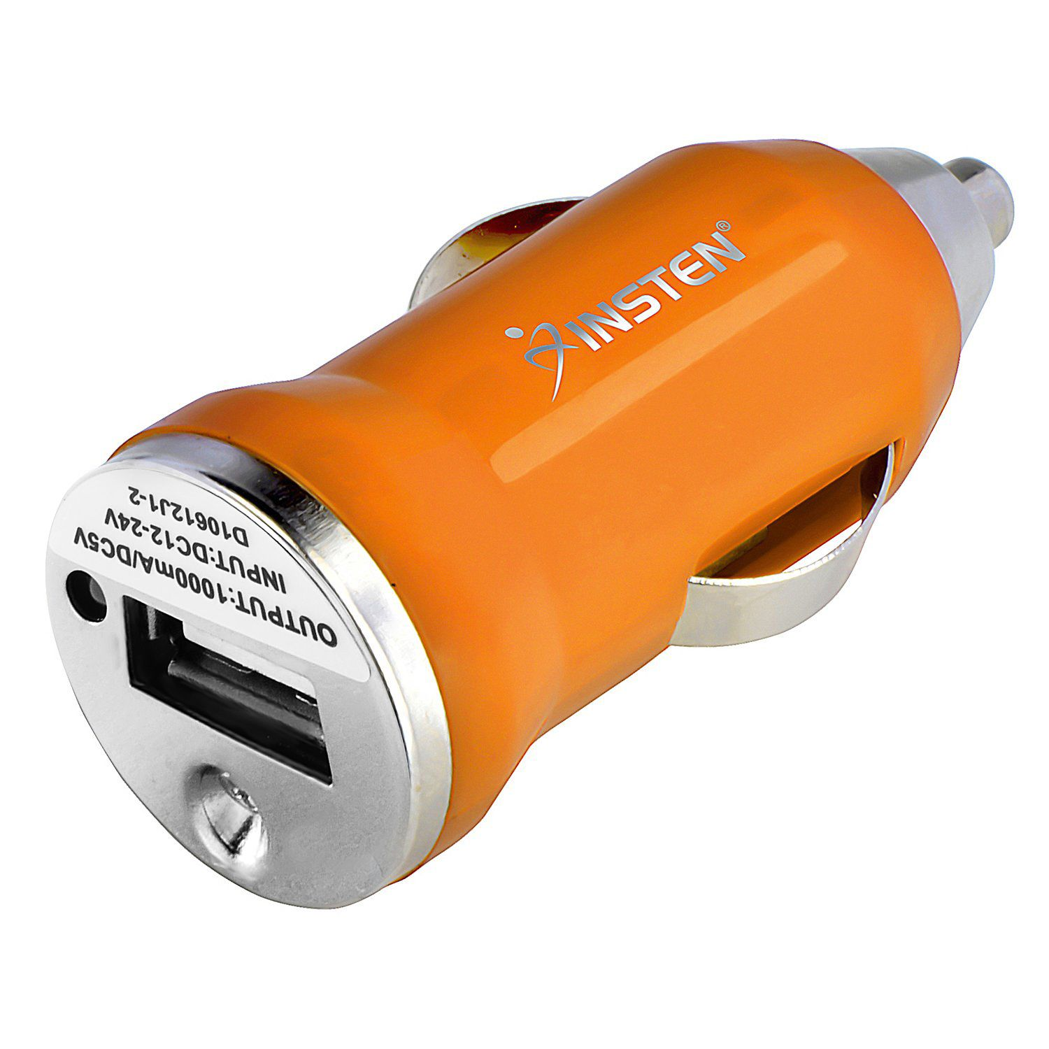 Accesorio Para El Celular Orange Mini USB Car Charger Adapter  by Insten For iPhone X 7 6 6s 4.7