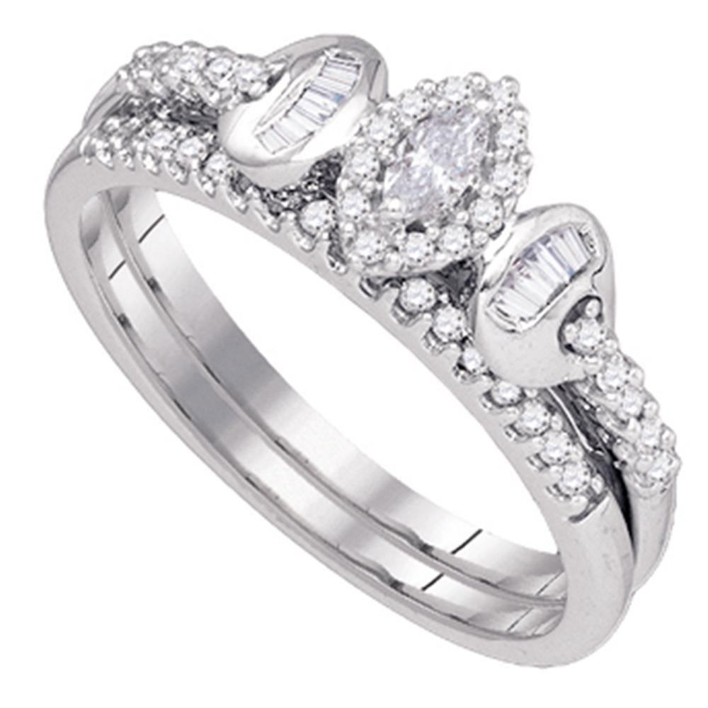 10k White Gold Marquise Diamond Womens Wedding Bridal Ring Set 1 3 Cttw by Diamond2Deal