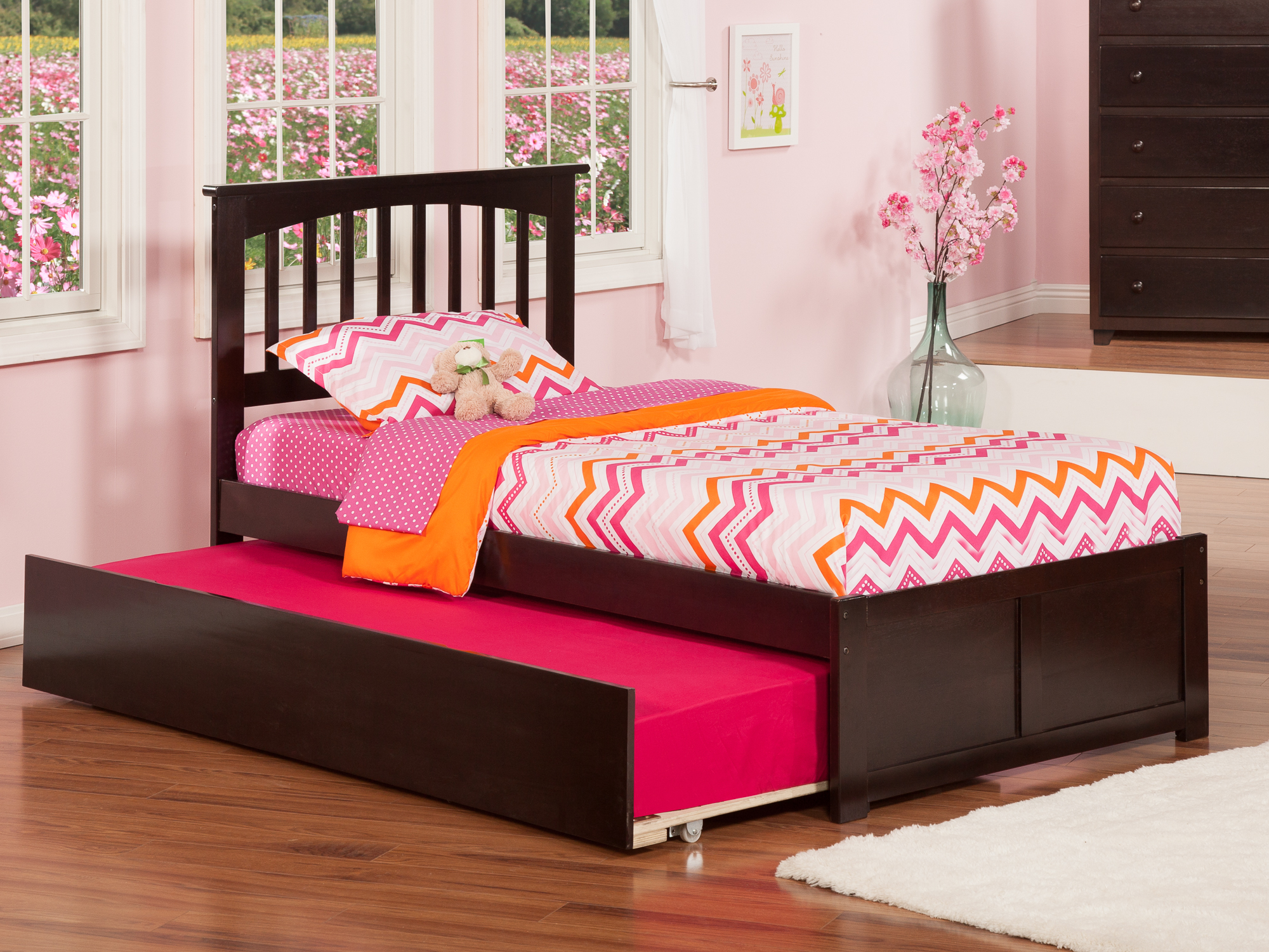 Mission Platform Bed with Flat Panel Foot Board and Twin Size Urban Trundle Bed in, Multiple Colors and Sizes by Atlantic Furniture