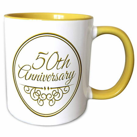 3dRose 50th Anniversary gift - gold text for celebrating wedding anniversaries - 50 years married together - Two Tone Yellow Mug,