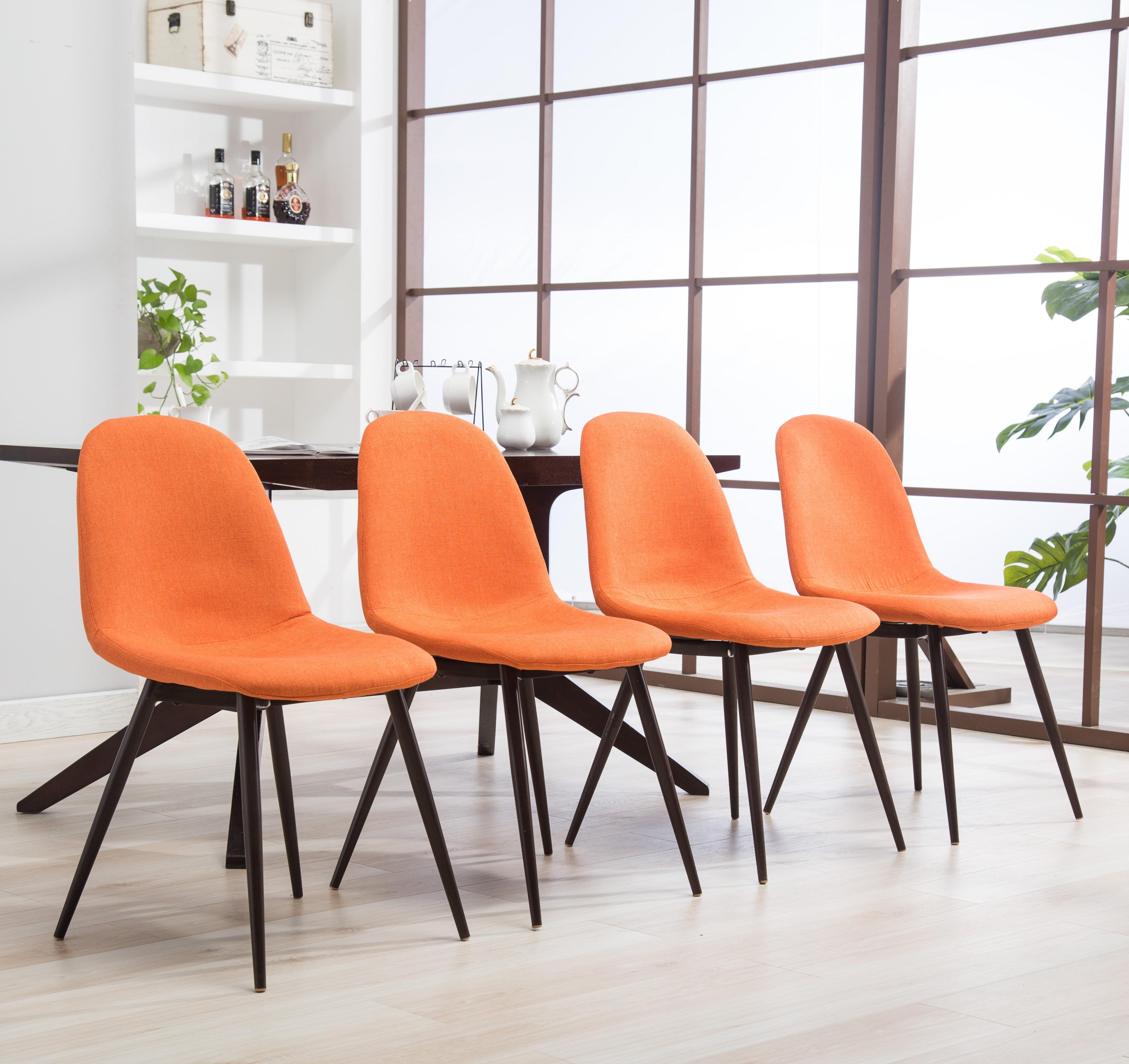 Roundhill Lassan Modern Contemporary Orange Fabric Dining Chairs, Set Of 4    Walmart.com