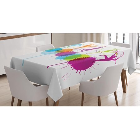 Gymnastics Tablecloth, Rhythmic Gymnastics Themed Colorful Woman Silhouettes Performing Ribbon Dance, Rectangular Table Cover for Dining Room Kitchen, 60 X 90 Inches, Multicolor, by Ambesonne](Colorful Tablecloths)