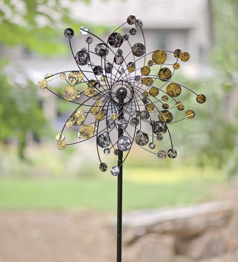 Wind & Weather Gold And Silver Dots Metal Wind Spinner for Gardens by Wind Spinners