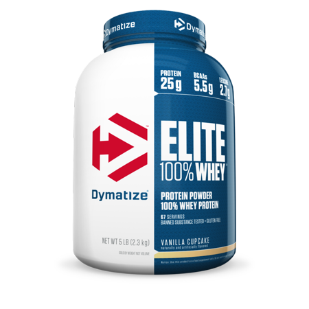 Dymatize Elite 100% Whey Protein Powder, Vanilla Cupcake, 25g Protein/Serving, 5 Lb