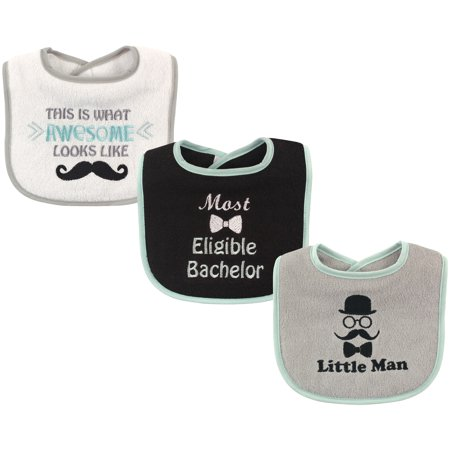Luvable Friends Baby Boy and Girl Drooler Bibs, 3-Pack - Little Man
