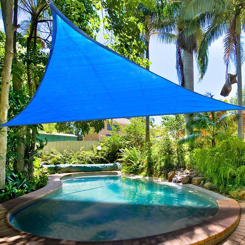 16.5' Triangle Sun Shade Sail Patio Deck Beach Garden Yard Outdoor Canopy Cover Uv Blocking (Blue)