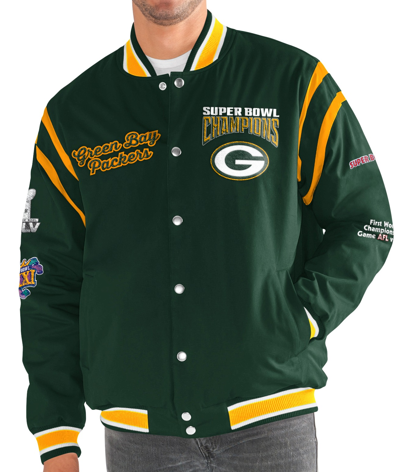 "Green Bay Packers G-III NFL ""All Time"" Men's Commemorative Varsity Jacket by G-III Sports"