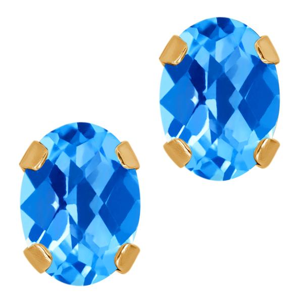 1.90 Ct Checkerboard Swiss Blue Topaz 14K Yellow Gold 4prong Stud Earrings 7x5mm