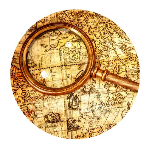 MKHERT World Map with Magnifying Glass Round Mousepad Mat for Mouse Mice Size 7.87x7.87 inches