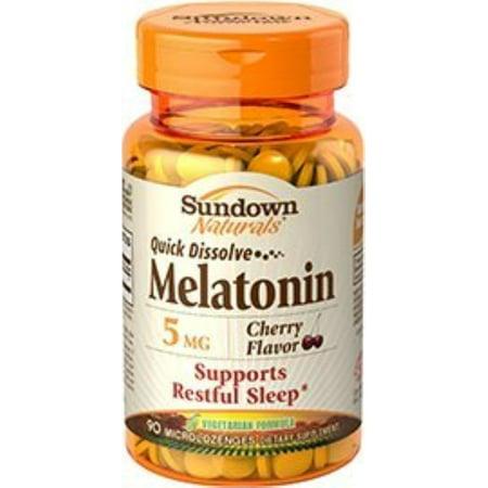 Sundown Naturals Quick Dissolve Melatonin 5 mg Microlozenges Cherry Flavor 90 Each