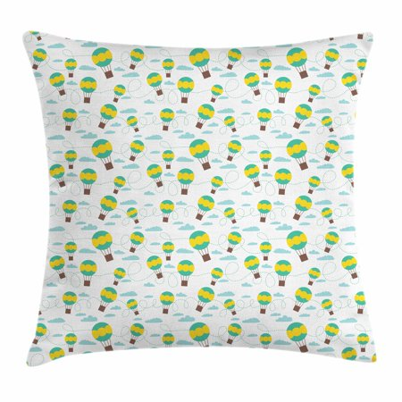 Kids Throw Pillow Cushion Cover, Pattern with Cartoon Style Hot Air Balloons in Sky Swirling Dashed Lines and Clouds, Decorative Square Accent Pillow Case, 16 X 16 Inches, Multicolor, by Ambesonne (Dash Cartoon Character)