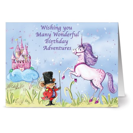 Unicorn Birthday Card - 24 Note Cards - Birthday Mouse and Unicorn - Blank Cards - Plum Purple Envelopes Included