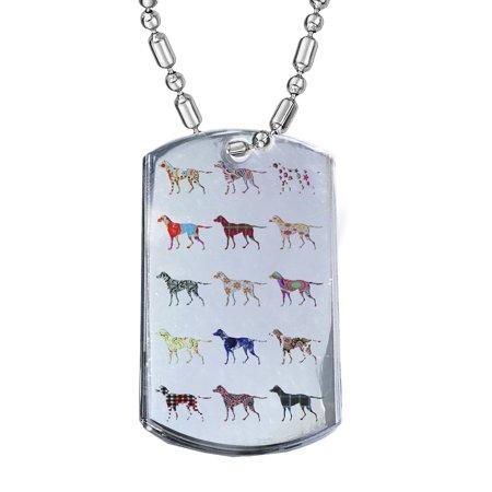 KuzmarK Silver Chrome Pendant Dog Tag Necklace - English Pointer Dog Chrome Dog Tag Necklace