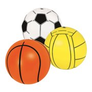 Blue Wave Play Blow Up Sports Balls  16 Inflatable Beach Balls or Pool Toys - Basketball, Soccer, and Volleyball