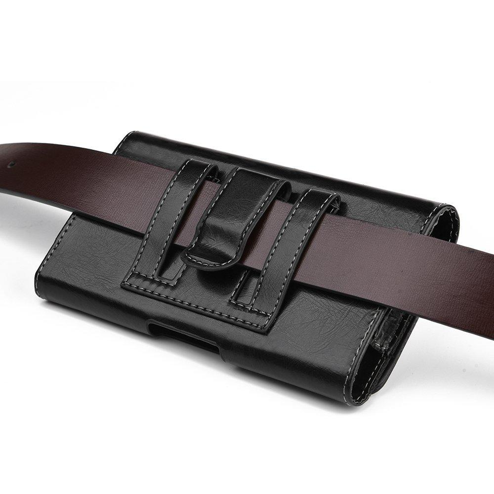 430066a1407c HJ Wireless Belt Clip Pouch for Motorola Moto e5 Plus / e5 Supra / G7 Power  ~ Black Leather Wallet Case Belt Loop Holster (Fits Phone with Otterbox ...