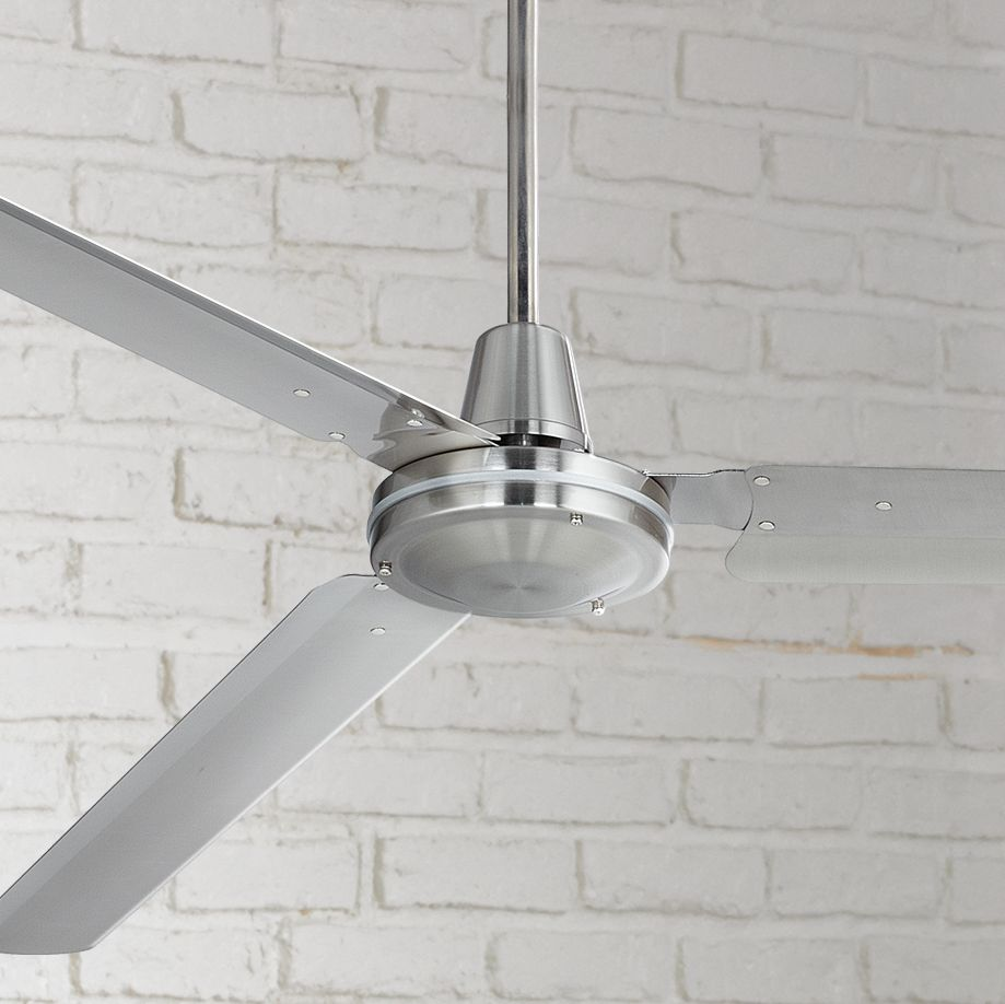 "72"" Casa Vieja Modern Industrial Outdoor Ceiling Fan Brushed Nickel Wall Control Damp Rated for Patio Porch"