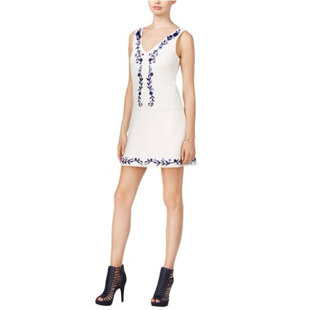 - GUESS Womens Embroidered Mini A-line Dress