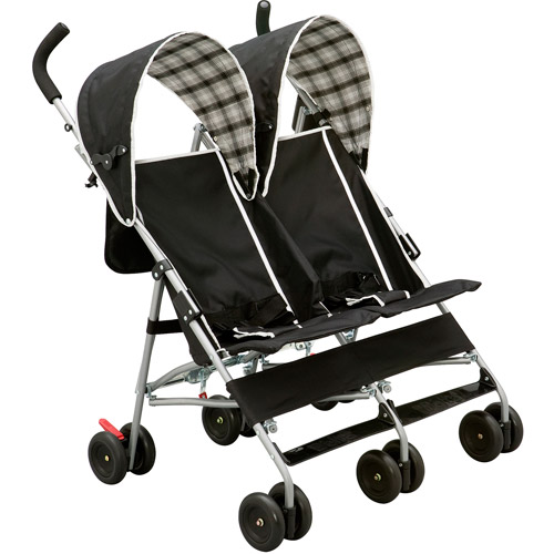 Delta Children's Products DX Double Side by Side Umbrella Stroller, Black and White Plaid by Delta Children