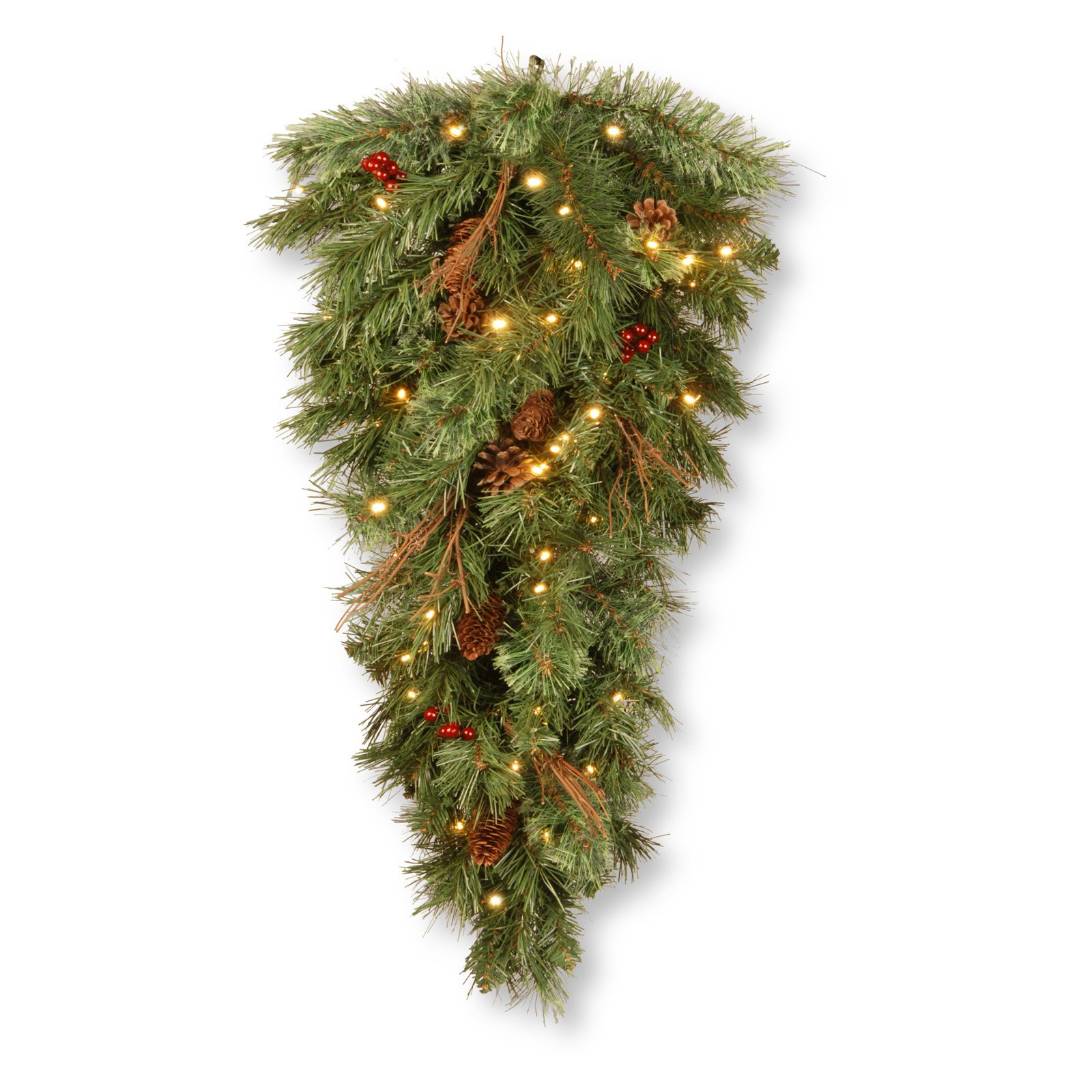 "36"" Glistening Pine Teardrop with Battery Operated Warm White LED Lights"