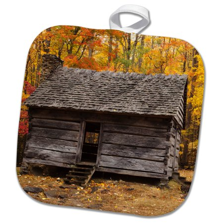 3dRose Historic wooden cabin in the fall, Smoky Mountains NP, Tennessee - Pot Holder, 8 by